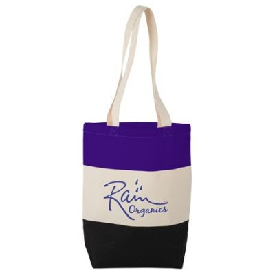8oz Cotton Canvas Color Block Tote