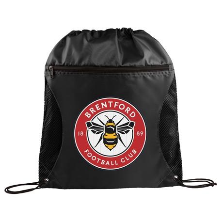 Zippered Side Mesh Drawstring Bag