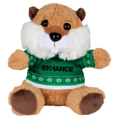 "6"" Ugly Sweater Plush Beaver"