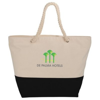 Zippered 12oz Cotton Canvas Rope Tote
